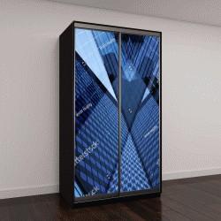 """Шкаф купе с фотопечатью """"фрагмент пейзажа с многоэтажными офисными зданиями"""""""