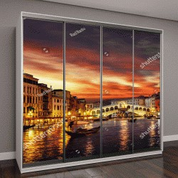 """Шкаф купе с фотопечатью """"Понте Риальто и гондолы на закате в Венеции, Италия"""""""