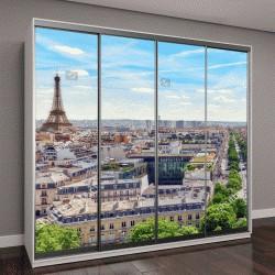 """Шкаф купе с фотопечатью """"Прекрасный панорамный вид на Париж с крыши Триумфальной арки"""""""