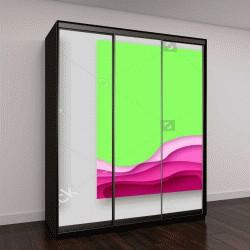 """Шкаф купе с фотопечатью """"Крышка или шаблон флаер с 3D абстрактные бумаги вырезать синий зеленый розовый желтый фон"""""""