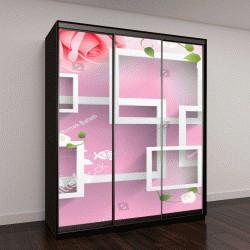 """Шкаф купе с фотопечатью """"Розовые цветы с прямоугольным фоном"""""""