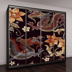 """Шкаф купе с фотопечатью """"Вышивка драконы и цветы """""""