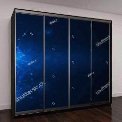 """Шкаф купе с фотопечатью """"молекулы на темно-синем фоне"""""""