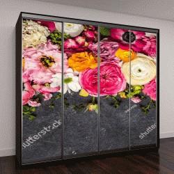 """Шкаф купе с фотопечатью """"цветы на черном фоне"""""""
