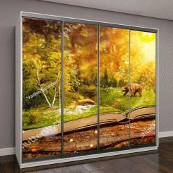 """Шкаф купе с фотопечатью """"Открытая книга с лесом и медведем"""""""