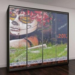 """Шкаф купе с фотопечатью """" граффити """"Ла Калавера Катрина"""", работа художник-мультипликатора Хосе Гуадалупе Посада"""""""
