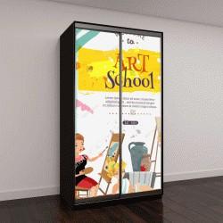 """Шкаф купе с фотопечатью """"Курсы художественной школе на живопись и графический дизайн творческий мультфильм приглашение плакат с живой модели векторные иллюстрации"""""""