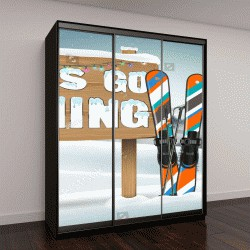 """Шкаф купе с фотопечатью """"едем кататься на лыжах деревянная доска знак и лыжного снаряжения"""""""