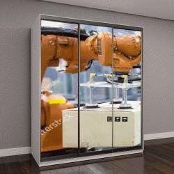 """Шкаф купе с фотопечатью """"Индустриальная робототехническая рукоятка для удержания пакета"""""""