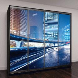 """Шкаф купе с фотопечатью """"подсветка на фоне современного здание в Шанхае, Китай"""""""