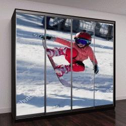 """Шкаф купе с фотопечатью """"Маленькая симпатичная девочка на сноуборде"""""""