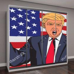 """Шкаф купе с фотопечатью """"Дональд Трамп на фоне флага в стиле поп-арт"""""""