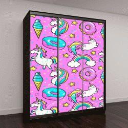 """Шкаф купе с фотопечатью """"единороги, пончики, радуги, конфетти """""""