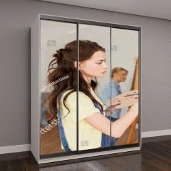 """Шкаф купе с фотопечатью """"школа искусств, художник с мольбертом, палитрой и кистью"""""""