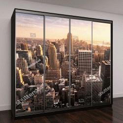 """Шкаф купе с фотопечатью """"Нью-Йорк с городских небоскребов на закате, США"""""""
