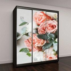 """Шкаф купе с фотопечатью """"Свадебные цветы, букет невесты крупным планом"""""""