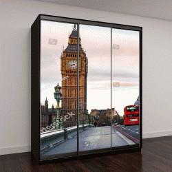 """Шкаф купе с фотопечатью """"Лондон, Великобритания, красные двухэтажные автобусы """""""