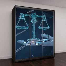 """Шкаф купе с фотопечатью """"Концепция интернет-права с помощью 3D визуализации робота ИИ"""""""