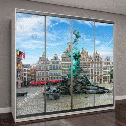 """Шкаф купе с фотопечатью """"Фонтан Брабо на Рыночной площади, в центре Антверпена, Бельгия"""""""