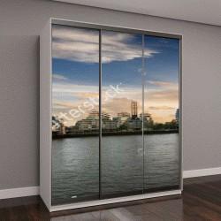 """Шкаф купе с фотопечатью """"Городской пейзаж Лондона: от Тауэрского моста до Лондонского моста во время заката, Соединенное Королевство"""""""