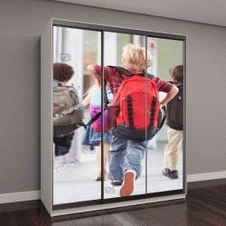 """Шкаф купе с фотопечатью """"Дети, бегущие в школу"""""""
