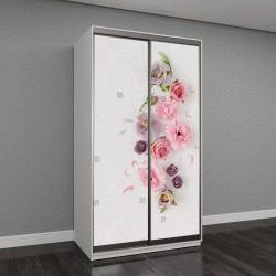 """Шкаф купе с фотопечатью """"макет с розовыми и фиолетовыми цветами на светлом фоне"""""""
