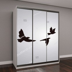 """Шкаф купе с фотопечатью """"Векторный силуэт летающих птиц на белом фоне"""""""