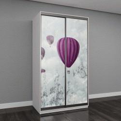 """Шкаф купе с фотопечатью """"розовые воздушные шары в облаках"""""""