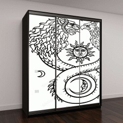 """Шкаф купе с фотопечатью """"Изображения фантастических животных Уроборос с телом змеи и две головы льва и птицы"""""""