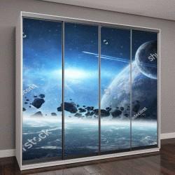 "Шкаф купе с фотопечатью ""Вид восход солнца на далекой планете системы """