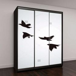 """Шкаф купе с фотопечатью """"Векторные силуэты летающих птиц на белом фоне"""""""