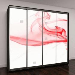 """Шкаф купе с фотопечатью """"красивый красный абстрактный дым на белом фоне"""""""