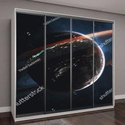 """Шкаф купе с фотопечатью """"Светящиеся кольца газового гиганта, потрясающая научная фантастика, космический пейзаж"""""""