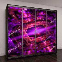 """Шкаф купе с фотопечатью """"Яркие абстрактные фиолетовые звезды фон с боке"""""""