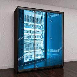 """Шкаф купе с фотопечатью """"Большая темная серверная с яркими голубым оборудованием"""""""