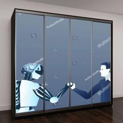 """Шкаф купе с фотопечатью """"Люди И Роботы, Рукопожатие Человека И Искусственного Интеллекта"""""""