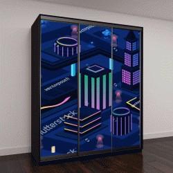 """Шкаф купе с фотопечатью """"футуристический ночной город, векторная иллюстрация 3D """""""
