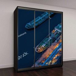 """Шкаф купе с фотопечатью """"Вид с воздуха на нефтяной танкер """""""