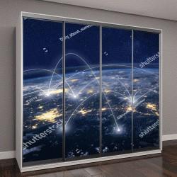 """Шкаф купе с фотопечатью """"глобальные сети из космоса, деловое общение по всему миру"""""""