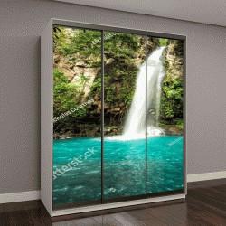 """Шкаф купе с фотопечатью """"Величественный водопад в тропическом лесу в джунглях Коста-Рики"""""""