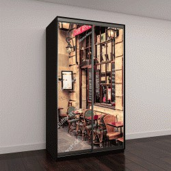 """Шкаф купе с фотопечатью """"Уютная улица со столиками  кафе в Париже, Франция"""""""