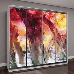 """Шкаф купе с фотопечатью """"Абстрактная живопись, красочный лес с желтыми листьями осенью"""""""