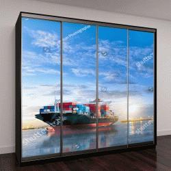"""Шкаф купе с фотопечатью """"международное контейнерное грузовое судно в океане на сумеречном небе"""""""