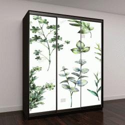 """Шкаф купе с фотопечатью """"набор акварельных элементов: травы, листья"""""""