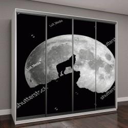 """Шкаф купе с фотопечатью """"Волк воет на Луну"""""""