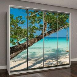 """Шкаф купе с фотопечатью """"качели висят на большом дереве над пляжем на фоне моря"""""""