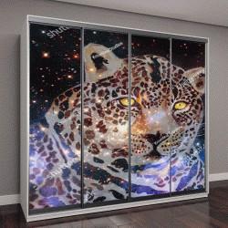 """Шкаф купе с фотопечатью """"изображение небесного леопарда"""""""