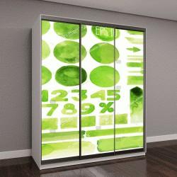 """Шкаф купе с фотопечатью """"Коллекция акварель зеленые элементы дизайна, изолированные на белом фоне"""""""
