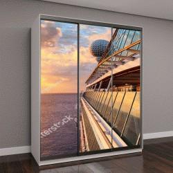 """Шкаф купе с фотопечатью """"Закат на открытой палубе роскошного круизного лайнера"""""""