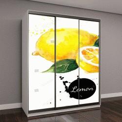 """Шкаф купе с фотопечатью """"лимоны, акварель на белом фоне"""""""